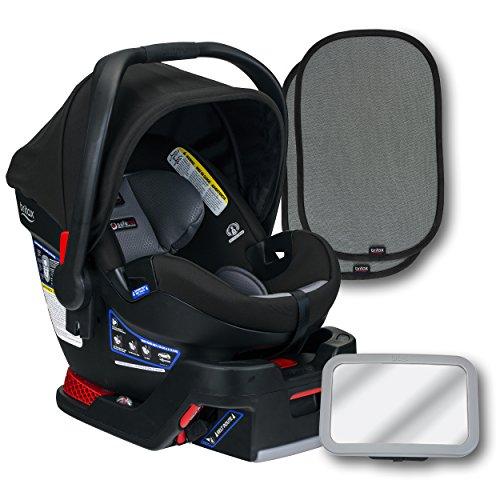 Britax B-Safe Ultra Infant Car Seat, Noir, Back Seat Mirror, and 2 EZ-Cling Window Sun Shades