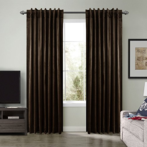 Seesaw Set - SeeSaw Home Super Soft Premium Solid Matt Velvet Thermal Insulated Rod Pocket 2 IN 1 Heading Curtains for Bedroom or Living Room, 50W By 96L Inch, Set of 2 Panels, Chocolate