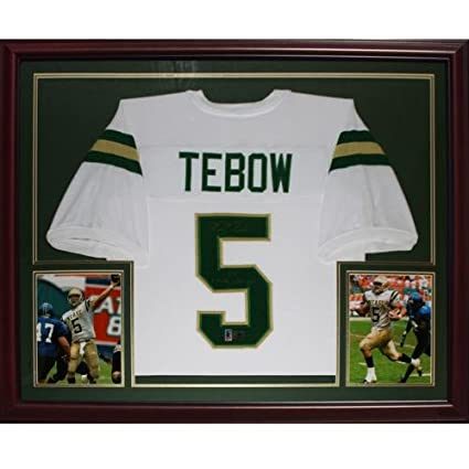 Tim Tebow Autographed Nease High School (White #5) Deluxe Framed