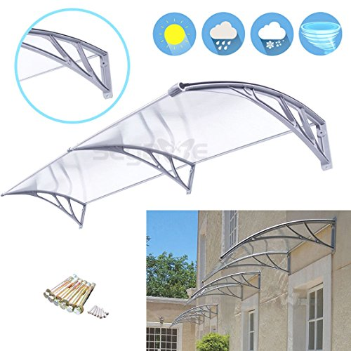 40'' x 80'' Outdoor Polycarbonate Front Door Window Awning Patio Cover - Al Mobile Shades