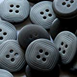 "Fancy & Decorative {20mm w/ 4 Holes} 12 Pack of Medium Size Round ""Flat"" Sewing & Craft Buttons Made of Plastic w/ Reversible Dark Smooth Glossy & Light Square Etched Pattern Design {Gray & Black}"