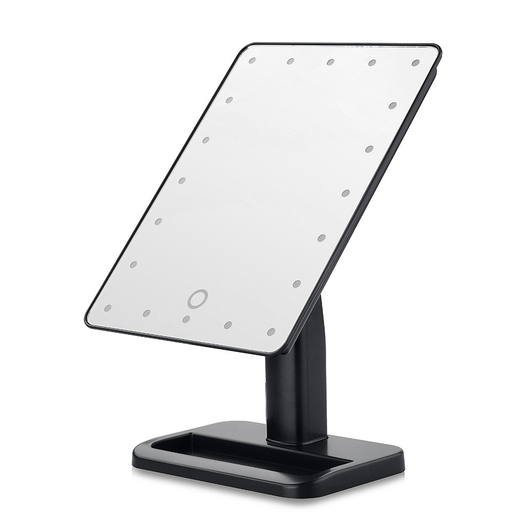Unique Portable LED Touch Screen Makeup Mirror 20 LEDs Lighted Make Up Cosmetic Adjustable Vanity Tabletop Countertop Bathroom Black
