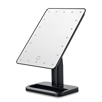 Unique Portable LED Touch Screen Makeup Mirror 20 LEDs Lighted Make Up Cosmetic Adjustable