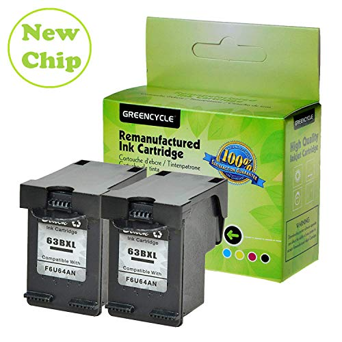 GREENCYCLE Remanufactured 63XL F6U64A High Yield Ink Cartridge Compatible for Inkjet DeskJet 1110 1112 2130 3636 Envy 4512 4520 OfficeJet 3830 3831 4655 Series Printer (Black,2 Pack)