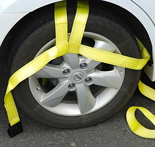 Bang4buck 2 Pieces Universal Adjustable Bonnet Tie Down System Wheel Straps for Demco Kar Kaddy Dollys with 2 Flat Hooks (Yellow-Rachet Strap) by Bang4buck (Image #3)