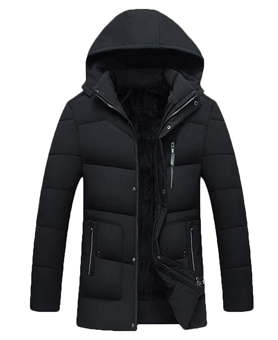 Nanquan Men Quilted Faux Fur Lined Hood Thicken Front-Zip Warm Down Coat