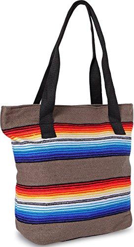 Handwoven Serape Tote Bag Sturdy woven cotton straps. Large Eco Friendly Tote Bag,Vibrant Colors, zipper closure and interior pickets (Gray)