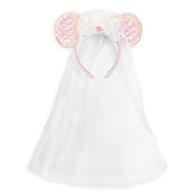 Amazon.com  Disney Minnie Mouse Ear Headband - Bride White  Clothing 0b26d4443fa
