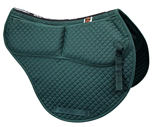 ECP Cotton Correction All Purpose Contoured Saddle Pad - Memory Foam Pockets Green ()