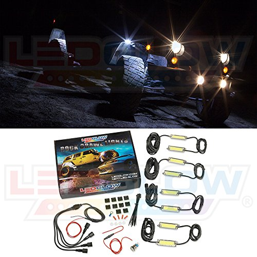 LEDGlow 8pc Rock Crawling LED Lighting Kit for Off-Road 4x4 Jeep - Waterproof & Heavy-Duty White COB LED Pod Lights - Mounts to Fender Well