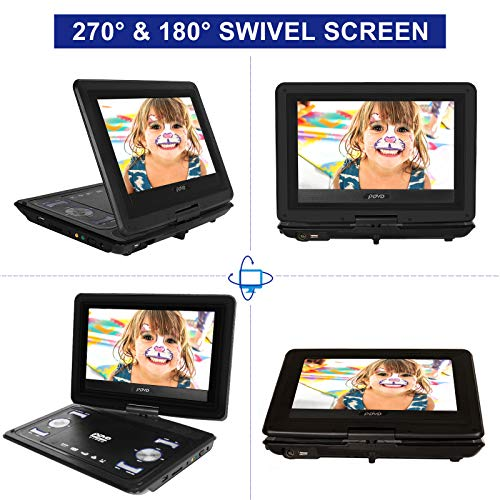 HAWKFORCE Professional Portable DVD Player, 10.1 inch Swivel-Screen DVD Player, Support CD/DVD/VCD/USB/Sync TV/Games, 5 Hours Rechargeable Battery, Portable Movie Player for Kids and Cars(Black)