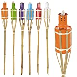6 Assorted Colour Outdoor Garden Oil Paraffin Torches 60cm Bamboo Burners
