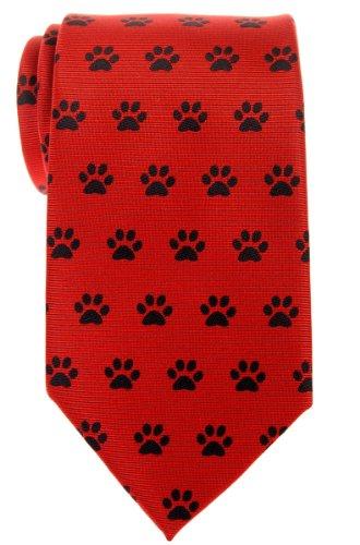 Paw Print Tie - Retreez Doggie Puppy Paws Woven Microfiber Men's Tie - Red, Christmas Gift
