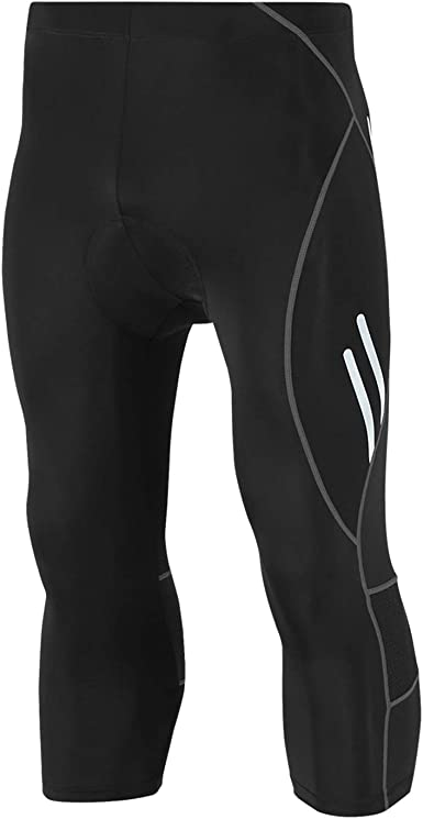 Mens Bike Long Pants with 4D Slicone Bicycle Trousers Elastic Breathable Tights
