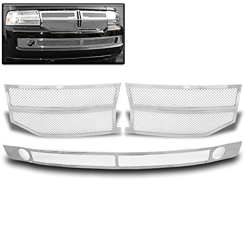 ZMAUTOPARTS Lincoln Navigator Front Upper + Bumper Stainless Steel Mesh Grille Combo