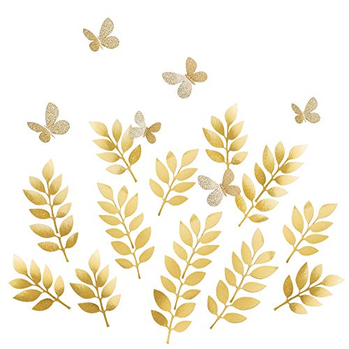 (Ling's moment Paper Leaves Butterflies Set, 24pcs Fake Gold Leaf & Glitter Butterfly, Paper Flower Decorations for Crafts Wall Nursery Baby Shower Wedding Birthday Photo Backdrop)