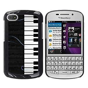 YiPhone /// Prima de resorte delgada de la cubierta del caso de Shell Armor - Piano Pattern - BlackBerry Q10