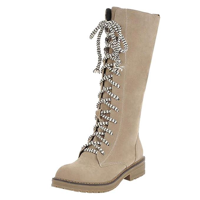 Botas de Invierno para Mujer, Tubo Alto, Zapatos Planos para Mujer Tubo