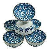 M.V. Trading NS2005 Japanese Blue and White Rice Bowls Design, 8-Ounces, 4½-Inches, Set of 6