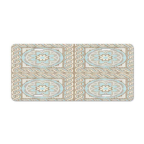DIY Rine Mosaic Tile Design with Floral Elements Twists and Multi-Colored Circular Pattern Car Licence Plate Covers Holders with Chrome Screw Caps for US Vehicles - Mosaic Twist