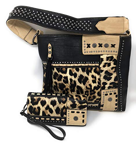 Women's Concealed Carry Hobo Single Strap Purse with Leopard Animal Print Design with Matching Wallet (Black) ()