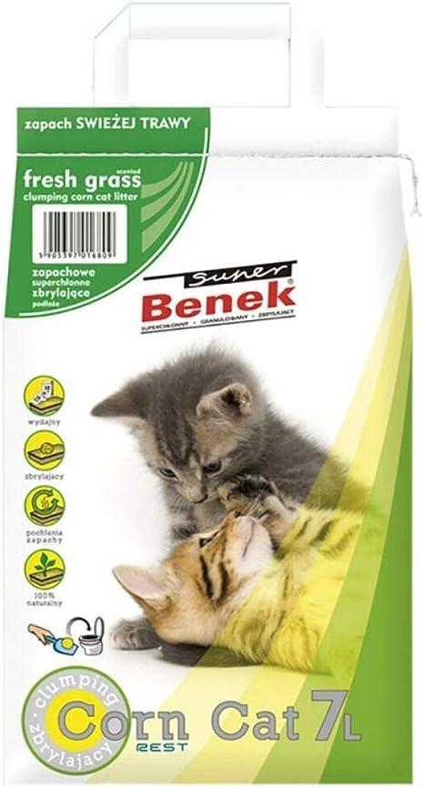 Super Benek Arena de maíz Natural para Gatos con Aroma a Hierba ...