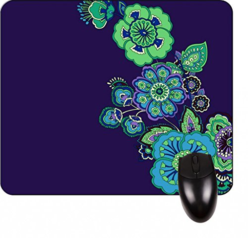 Green Paisley Flowers Pattern Square Mousepad - Stylish, durable office accessory and gift