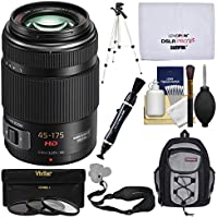 Panasonic Lumix G 45-175mm f/4-5.6 ASPH Power Zoom Lens with 3 Filters + Backpack + Tripod Kit