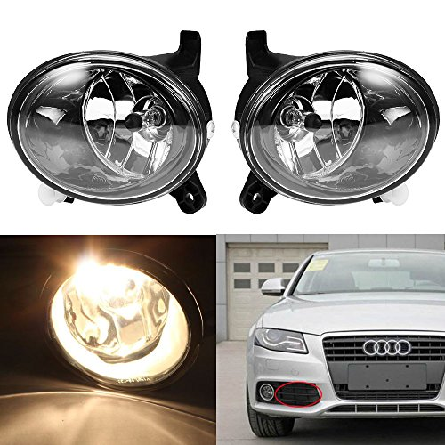 QUIOSS 1 Pair of Clear Lens Fog Light Driving Lamp with H11 Bulb 55W for 2009-2012 Audi A4 S4 B8 Sedan (55w Driving)