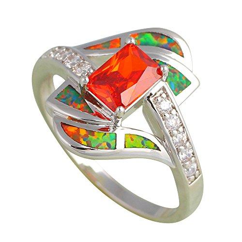 Agate Silver Orange (Rectangle Orange Zirconia design Orange fire Opal 925 Silver Rings fashion jewelry USA size #7 OR628 hot selling (7))