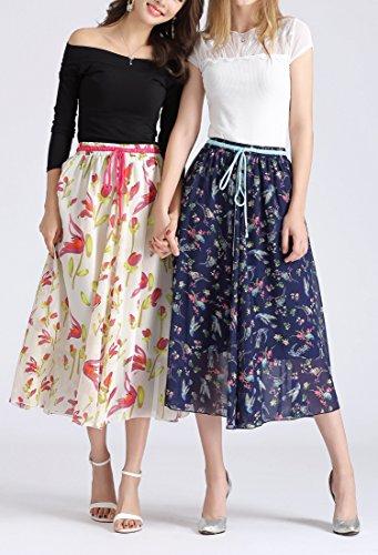 Azue Women's Midi Skirt Elastic Waist Floral Print Skirts Retro Multi-Colored