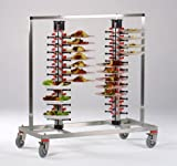 Plate-Mate PM96-160 Stainless Steel 96 Plates Twin Model Mobile Catering Rack, 650 lbs Capacity, 49-1/2'' Height