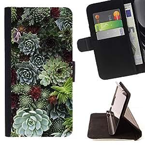 For Samsung Galaxy S6 Case , Cono del árbol natural de la Selva Verde- la tarjeta de Crédito Slots PU Funda de cuero Monedero caso cubierta de piel