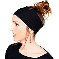 Womens Fashion Pleated Nonslip Diadema Headwrap Hairband el Turbante accesorios para el pelo color sólido para ejercicio Crossfit Yoga Pilates Gimnasio Deportes Correr, Negro