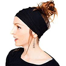 Womens Fashion Pleated Nonslip Headband Headwrap Hairband Turban Hair Accessories Solid Color for Workout Crossfit Yoga Pilates Gym Sports Running