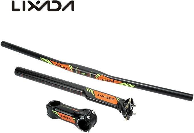 carbon fiber bicycle MTB mountain road bike flat rise handlebar seatpost stem