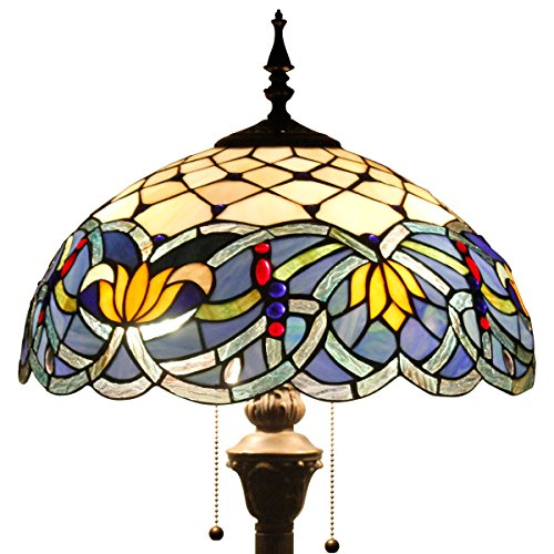 16F01S523 Tiffany style floor lamp light W16 inch sea blue dragonfly shade E26 (S220 Series) by werfactory