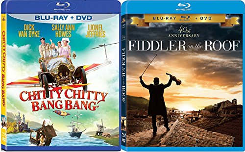Double Feature Musicals Chitty Chitty Bang Bang Blu Ray + DVD The Fiddler on The Roof Movie Bundle