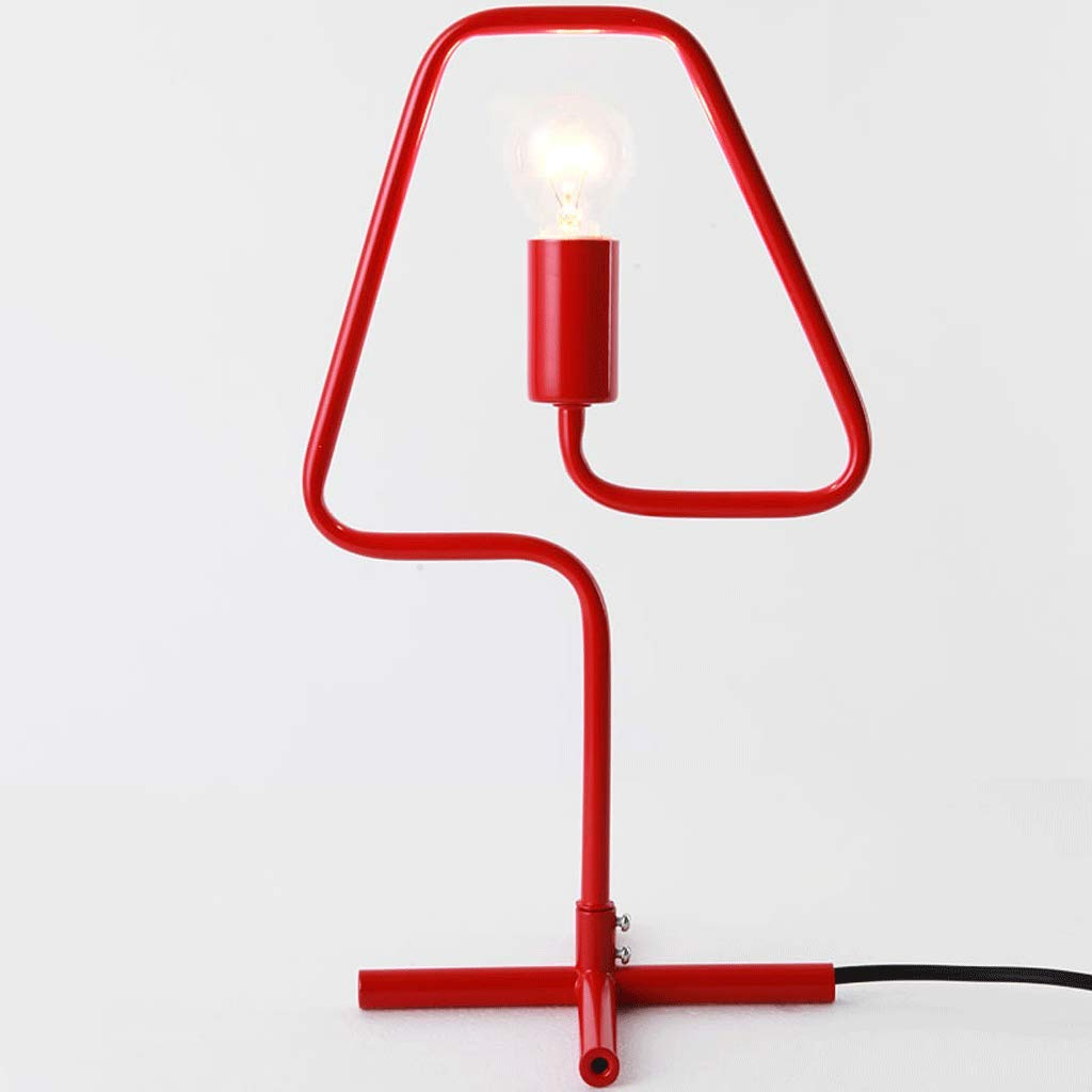 YXN Simple Modern Living Room Macaron Desk and Other Bedroom Bedside Lamp Wrought Iron Table Lamp E14 Light Source1 (Color : Red)