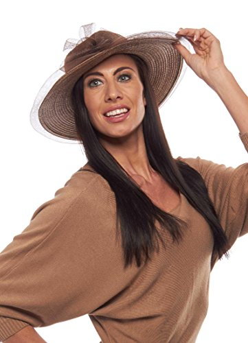 Mint Julep Horsehair and Straw Sun Hat with Bow, Dark - Julep Wedding Mint