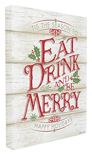 Stupell Industries Eat Drink and Be Merry Canvas Wall Art, 16 x 20, Multi-Color (Eat Drink Be Merry Wall Canvas)