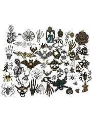 GraceAngie Wholesale 100 Pcs Mixed Halloween Charms Beads Skeleton Skull Tibetan Silver Bronze Pendants Accessory For DIY Necklace Bracelet Jewelry Making