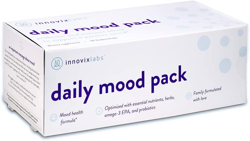 InnovixLabs Daily Mood Pack. Six Mood-Support Nutrients in One Convenient Pack. A Novel Combination of Probiotics, Omegas, Vitamins, and Minerals. 30 Tandem Packets.