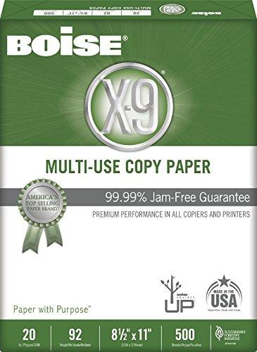 BOISE X-9 MULTI-USE COPY PAPER, 8 1/2'' x 11'', Letter, 92 Bright White, 20 lb., 1500 Sheets/Carton, 96 Cartons/Pallet