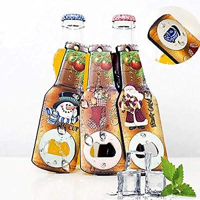 Ikevan 3 PCS Creative wooden bottle opener Christmas Print Refrigerator Magn