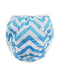 Swim Diaper Nappy Pants Reusable Adjustable For Infant Baby Boy Girl Toddler - Blue Stripe, as described