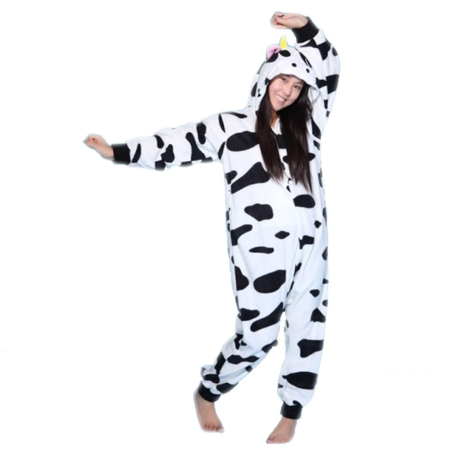 Sexbaby Womens Mens One Piece Pajamas Cow Novelty Jumpsuit Fleece Onesies