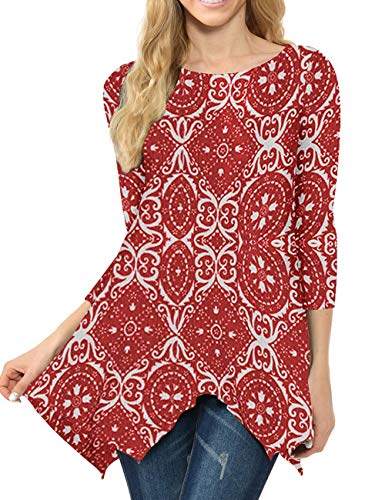MIROL Women's Spring Floral Print 3/4 Sleeve Irregular Hem Asymmetrical Tunic Loose Long Blouse Tops (Large, Red Flower) ()
