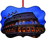 Santa and Sleigh Riding Over the Roman Colosseum at Night-Rome, Italy-TM Double-Sided Benelux Aluminum Holiday Hanging Tree Ornament Made in the USA!
