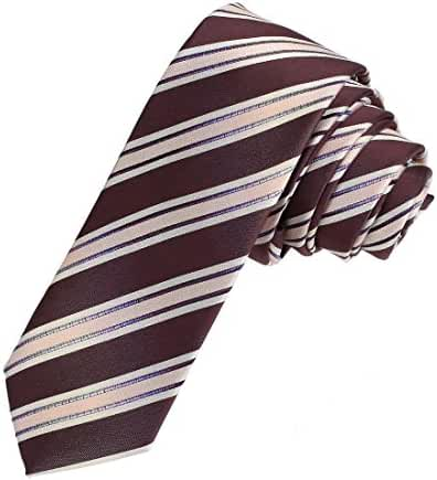 DAE7A01-03 Multicolors Groomsmen Woven Microfiber Stripe Skinny Tie By Dan Smith
